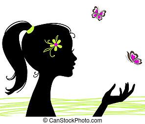 beau, papillon, girl, silhouette