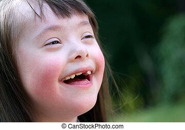 beau, parc, jeune, portrait, fille souriant