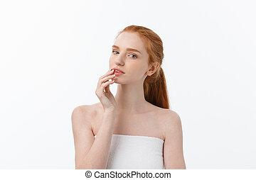 beau, parfait, elle, beauté, isolé, jeune, arrière-plan., skin., toucher, femme, portrait, woman., figure, healthcare., blanc