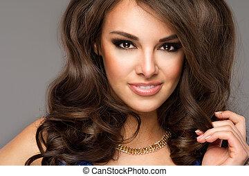 beau, parfait, femme, toothy, face., jeune, haut, portrait., fin, girl, smile., caucasien