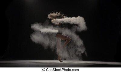 beau, particules, interprète, lancement, air., mouvement, lent, poussière