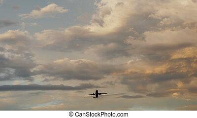 beau, passager, fermé, très, prendre, contre, clouds., coucher soleil, fond, avion