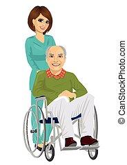 beau, patient, fauteuil roulant, jeune, personne agee, infirmière