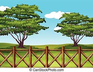 beau, paysage, barrière