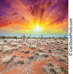 beau, paysage., ciel, intérieur, couleurs, australie, la terre