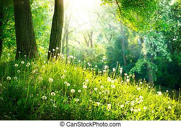 beau, paysage., printemps, nature., arbres, herbe verte