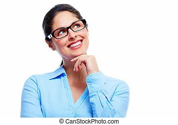 beau, pensée, woman., business