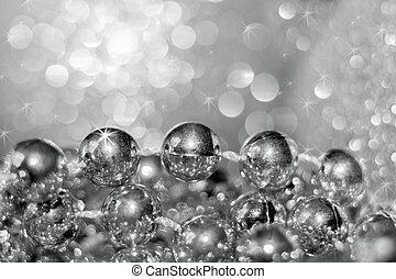 beau, perles, fil, résumé, bokeh., argent, foyer., arrière-plan noir, blanc, doux, noël, rond