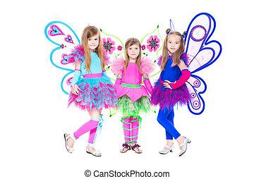 beau, petites filles, trois