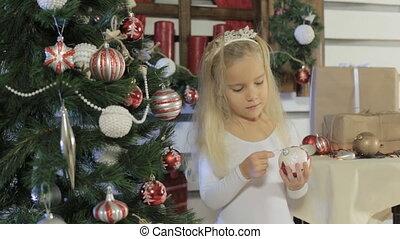 beau, peu, arbre, décore, longs cheveux, blonds, girl, noël