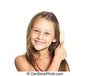 beau, peu, elle, dos, longs cheveux, peigner, girl, peigne, blanc