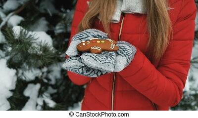 beau, peu, femme, hiver, tient, main, homme pain épices, paysage