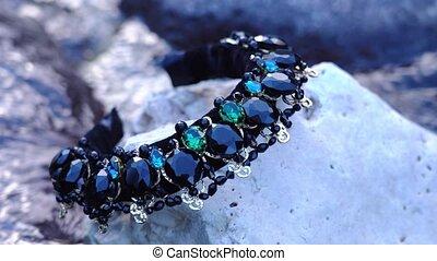 beau, pierres, ruisseau, eau, couronne, cheveux