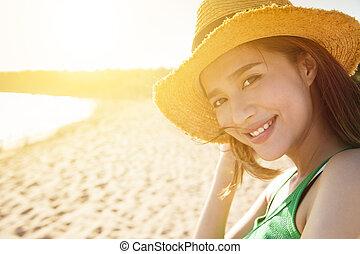 beau, plage, femme, coucher soleil, jeune