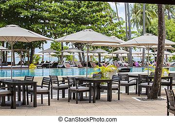 beau, plage, parapluie, arbre, ensoleillé, exotique, sunbed, paume, eau, mer, thaïlande, day.