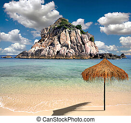 beau, plage tropicale, parapluie