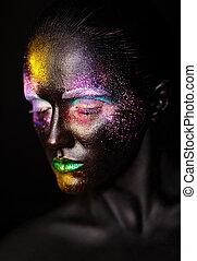 beau, plastique, inhabituel, femme, art, coloré, photo, maquillage, masque, figure, clair, top model noire, créatif