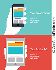 beau, plat, smartphone, tablette, conception, icône