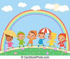 beau, pluvieux, enfants, jour, promenade