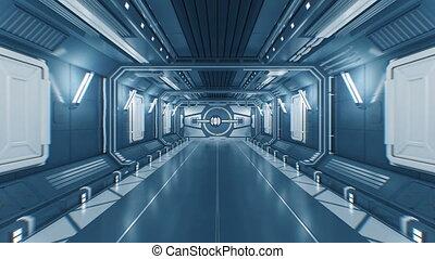beau, portes, ultra, vol, ouverture, tunnel, lumière, résumé, futuriste, métal, matte., vaisseau spatial, par, 4k, 3840x2160, alpha, blanc, 3d, animation., hd, dehors