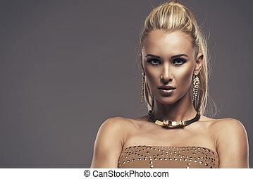 beau, portrait, blond, femme, sensuelles