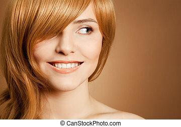 beau, portrait, femme souriante