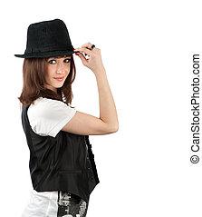 beau, portrait, girl, chapeau