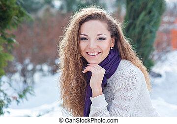 beau, portrait, girl, hiver