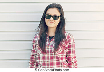 beau, portrait, girl, sunglasses.