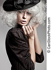 beau, portrait, style, mode, femme