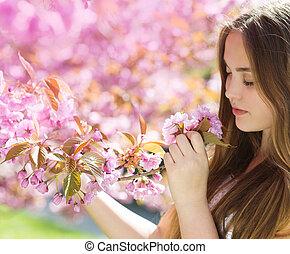 beau, printemps, girl