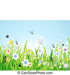 beau, printemps, pré