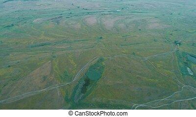 beau, prise vue., aérien, sur, voler, river., appareil photo, panorama., vue., paysage