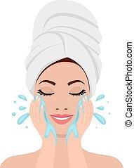 beau, processus, femme, face lavage
