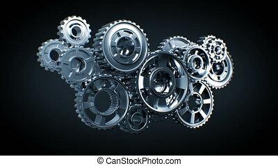 beau, processus, résumé, technologie, fonctionnement, concept., voler, mécanisme, arrière-plan., animation, collaboration, hd., 3d, business, screen., construction, engrenages, métal, vert, 4k, ultra, noir