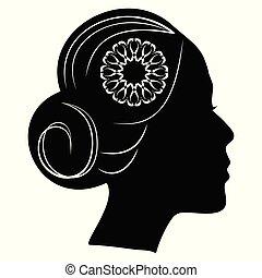 beau, profil, coiffure, fleur, silhouette, dentelle, classique, vendange, brioche, hair., dame