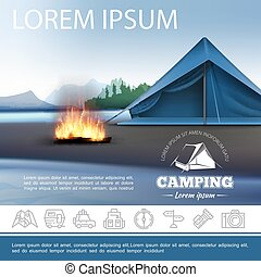 beau, réaliste, camping, gabarit