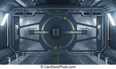 beau, résumé, mask., technologie, porte, concept., arrière-plan., animation, noir, 3840x2160, portail, vaisseau spatial, 3d, uhd, ouverture, screen., alpha, acier, métal, vert, 4k, futuriste