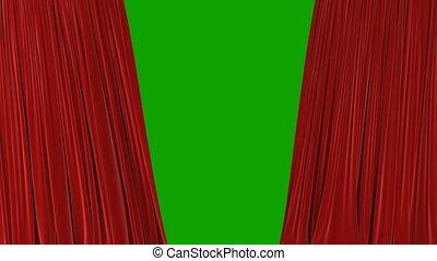 beau, révéler, ultra, rideaux, résumé, ouverture, matte., 4k, screen., onduler, tissu, animation, vert, hd, fond, alpha, fermer, soie, rouges, 3d