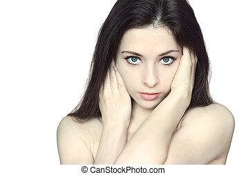 beau, regarder, yeux, femme, peau, isolé, long visage, cheveux, arrière-plan., closeup, portrait, vert, sexy, dame, blanc, soin