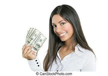 beau, reussite, femme affaires, notes, dollar, tenue