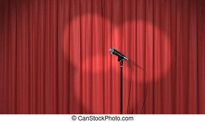 beau, rideau, microphone, projecteurs, rouges
