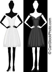 beau, robe, girl, vecteur, silhouette