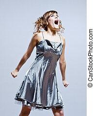 beau, robe, jeune, prom, colère, girl, crier