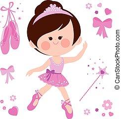 beau, rose, ballerine, illustration, girl., vecteur, collection