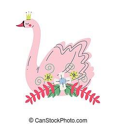beau, rose, doré, conte fées, cygne, couronne, illustration, princesse, fleurs, vecteur, agréable, oiseau