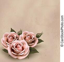 beau, rose, illustration., buds., roses, vecteur, retro, fond