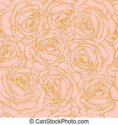 beau, rose, style, contour, or, vendange, seamless, roses, fond