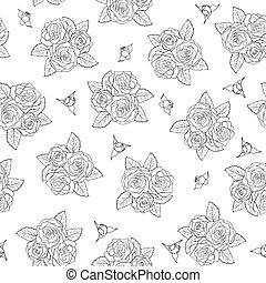 beau, roses, pattern., seamless, bouquets