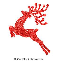 beau, rouges, renne, décoration